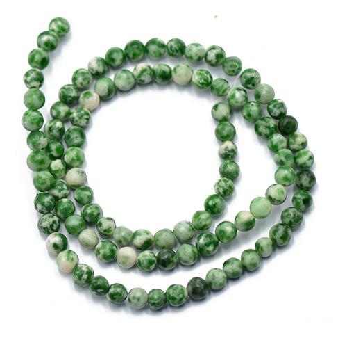Cordão De Pedra Preciosa De Jade Verde Redondo De 4 Mm