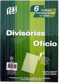 Jogo C/6 Div Plast Transp Cl Of 310x225mm 6intb 1608 Yes