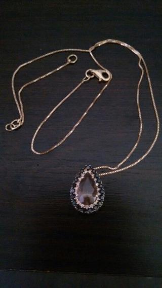 Colar De Ouro 18k ,com Diamantes E Topazio Imperial