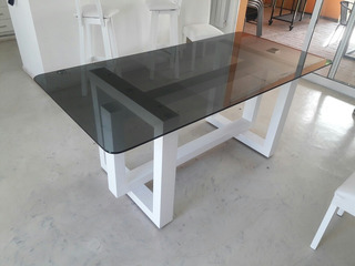 Mesa Vidrio Laqueada Minimal Moderna