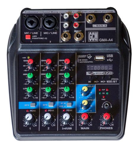 Mixer/consola 4 Canales + Alimentacion Por Usb - Gma-a4 Gcm