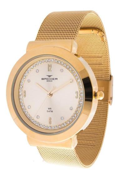 Relógio Backer Feminino Ref: 3978145f Ch Casual Dourado