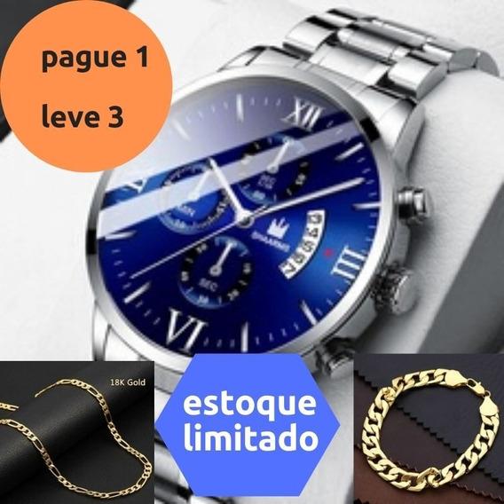 Kit 3 Em 1 Relogio De Luxo Corrente E Pulseira