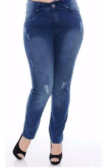 Kit 07 Calças Feminina Jeans Plus Size Cintura Alta Lycra.