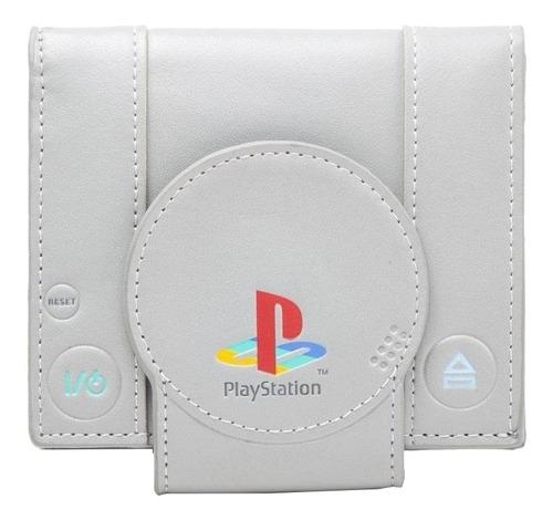 Imagen 1 de 4 de Billetera Bioworld PlayStation One grey poliéster y poliuretano