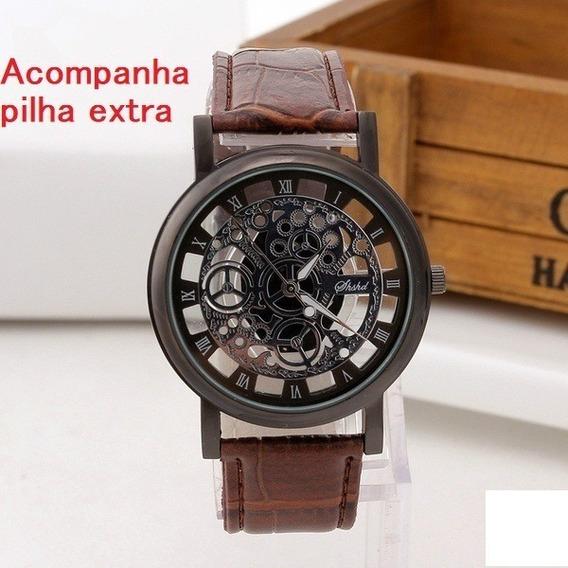 Relógio Casual Quartzo De Aço Inoxidável Pulseira De Couro