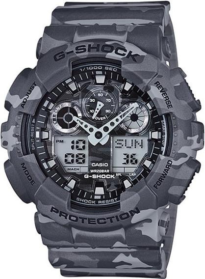 Relógio Casio G-shock Ga-100cm-8adr Cinza E Branco Camuflado