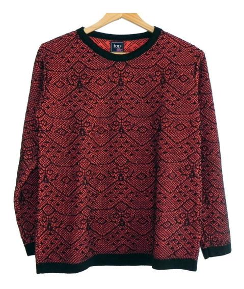Sweater M/larga Negro Y Rojo Marca Perimetro (nuevo!) #sw