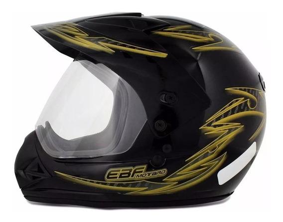 Capacete para moto cross EBF Capacetes Motard Street dourado tamanho 58