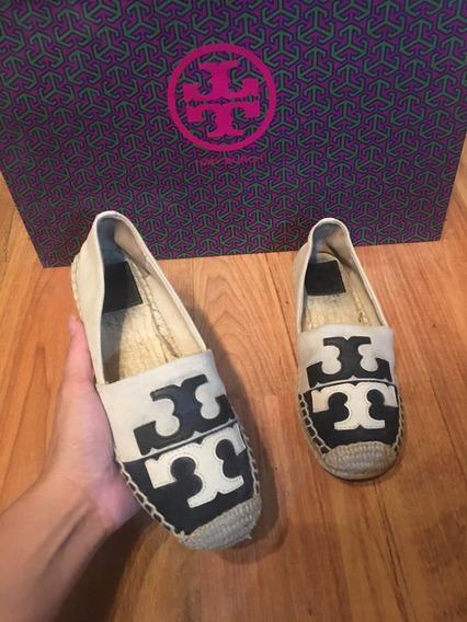 Padrisimos Zapatos Flats Spadrilles Tory Burch Logo Grande!!