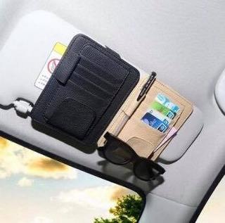 Porta Cartões Óculos Couro Bege Para Carro