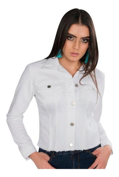 Chamarra Dama Mezclilla Blanca Casual Slim Moda