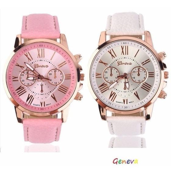 Relógio Feminino Caixa Dourada Geneva Kit Com 2 Unds Barato