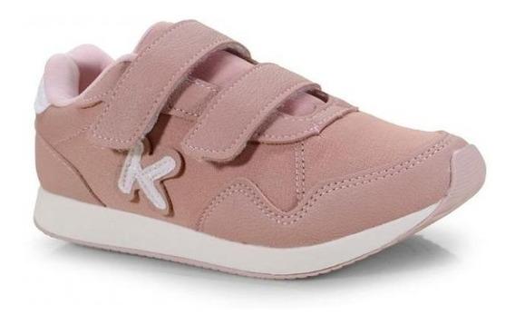 Tênis Infantil Klin Menina Walk Rosa Antigo Original Velcro