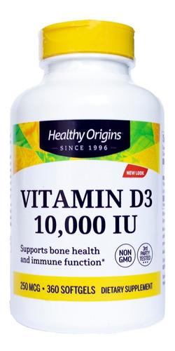 Vitamina D3 10000 Iu 360 Softgels - Healthy Origins