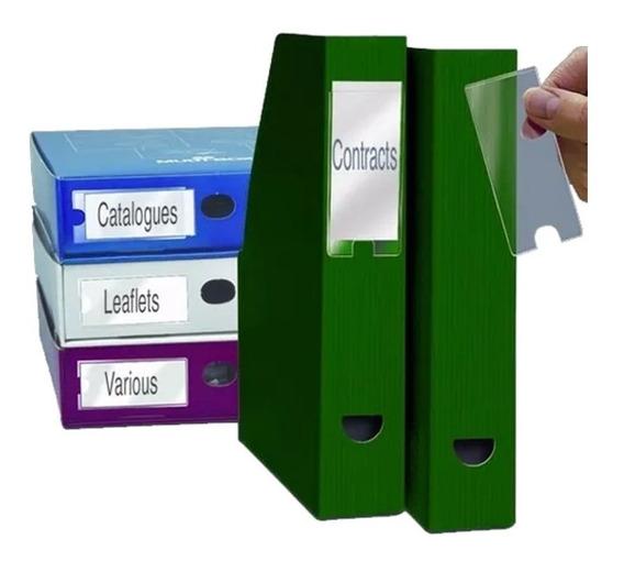 Porta Etiquetas Auto Adesivo Transparente - Embalagem 6 Unds
