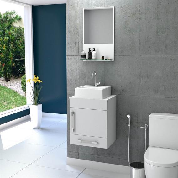 Kit Gabinete Com Cuba Q32 E Espelheira P/ Banheiro Compace