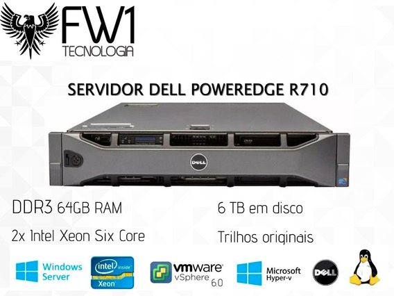 Servidor Dell R710 / 2x Sixcore / 6 Tb Em Disco / 64gb Ram