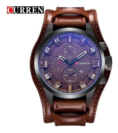 Relógio Masculino Curren Militar Original Pulseira De Couro