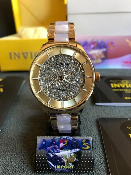 Relogio Invicta Angel 24666 Gold Flame Fusion Completo Caixa