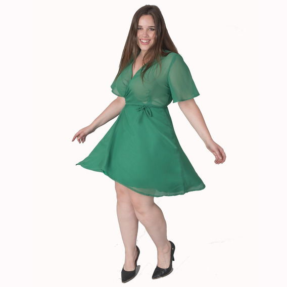 Vestido Fiesta Corto Día/noche Verde Xl Somos Fabrica