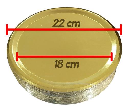 Bandeja Cartón Dorada P/tortas 22 Cm X 50 Uni. Plato Dorado