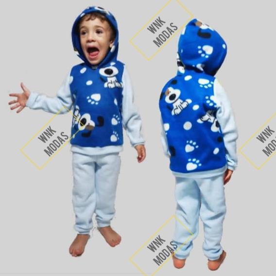 Kit 4 Conjuntos Infantis Soft Frio Inverno Capuz 0 A 1 Ano