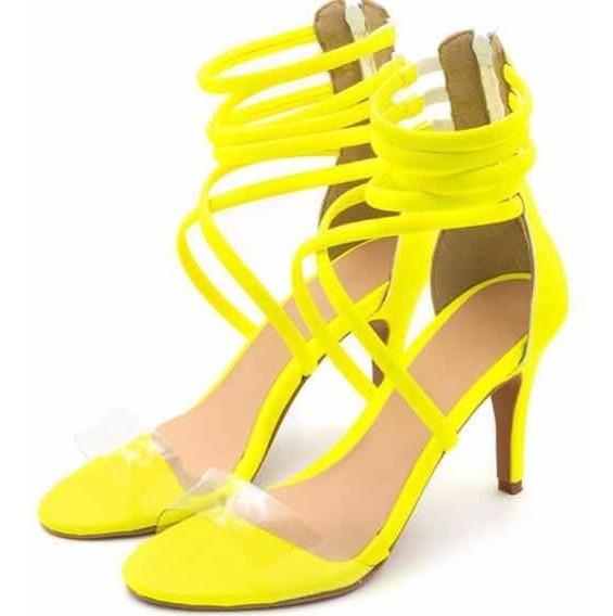 Sandália Salto Alto Meia Cana Trançada Em Napa Neon Amarelo