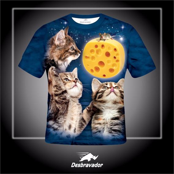 Camiseta 3d Gatos Queijo
