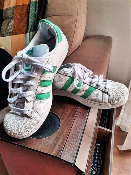 Tênis adidas Superstar Couro Branco E Verde