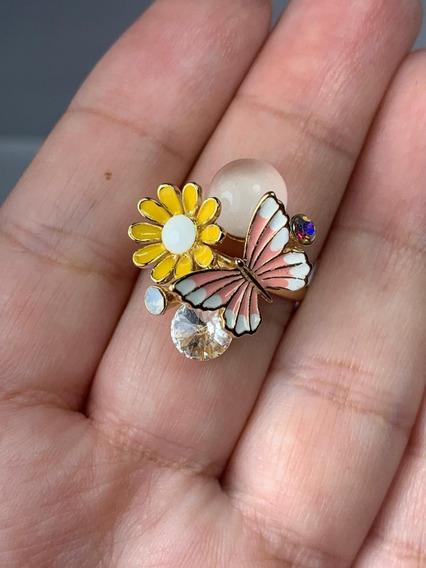 Anillo Fantasía Fina Baño De Oro Modelo Mariposa Primavera