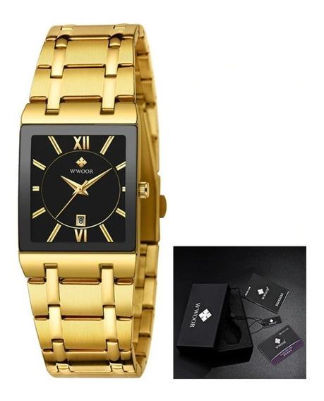 Relógio Masculino Original Wwoor Square Luxo Aço Inoxidável