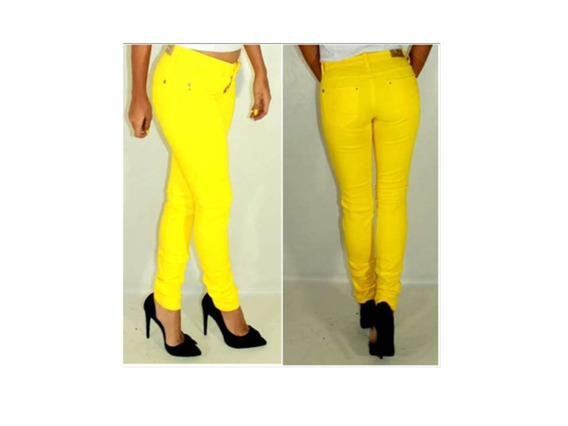Ultimo!! Bello Pantalon Amarillo Talla 28 Tela Strech