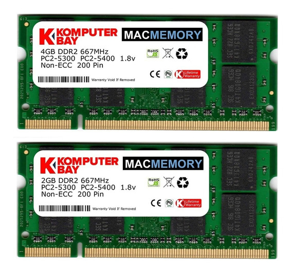 Memoria Ram 4gb Komputerbay Mac 6gb Kit ( + 2gb Modules) Pc2-5300 667mhz Ddr2 Sodimm Para Apple iMac Macbook Pro