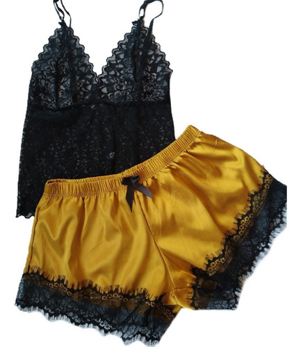 Pijama Satén Mujer Lencería Femenina Encaje Sexys