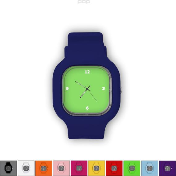 Relógio Pulseira Silicone Troca Cores Resistente Verde
