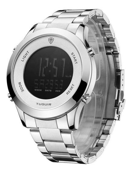 Relógio Digital Prata Tuguir Original Promoção Dj0073