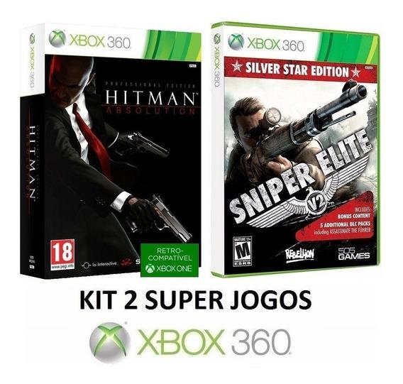 2 Jogos - Hitman Absolution Professional Edition + Sniper Elite V2 Silver Star Edition - Midia Fisica Original Xbox 360