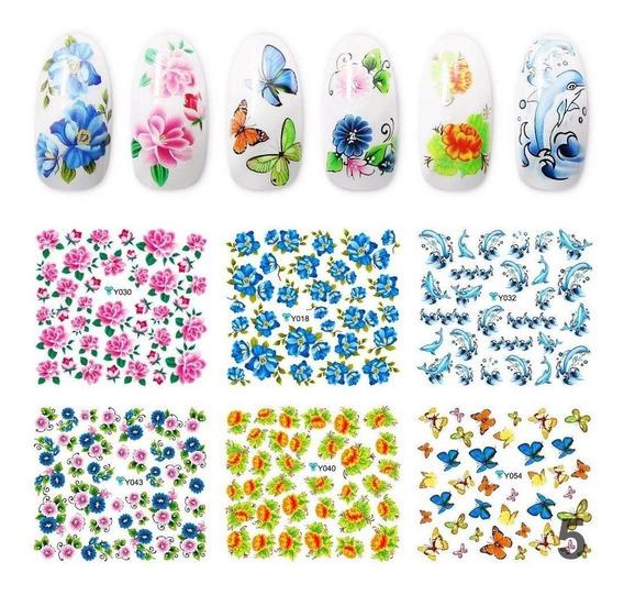 10 Planchas Stickers Al Agua Tatoo Deco Nails Lefemme