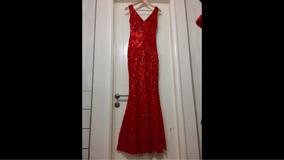 Vestido Largo Lentejuelas, Rojo - Talla S