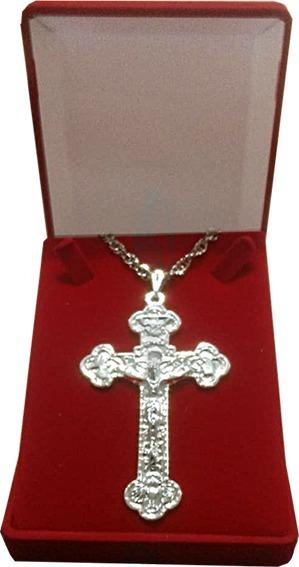 Cruz Peitoral Ornada Bizantina 8cm- Folhada A Prata 50mc