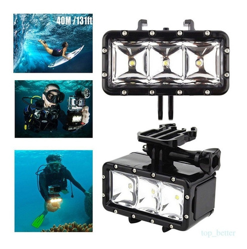 Luz Led Agua Buceo Impermeable 3  Lámpara Para Go Pro Sjcam