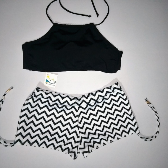 Biquíni Com Top - Shortinho Sunkini E Top Cropped