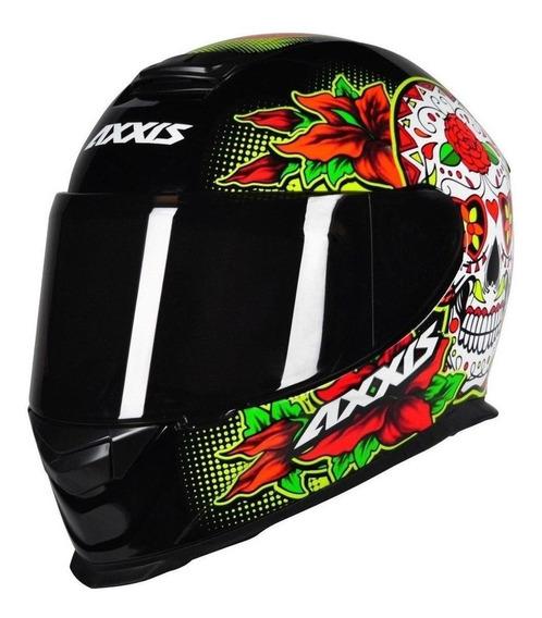 Capacete para moto integral Axxis Helmets Eagle Skull black/yellow M