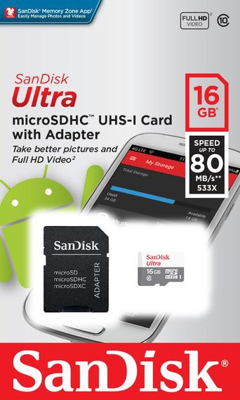 Cartão Micro Sd Ultra 16gb Classe 10 80mbs Sandisk Original