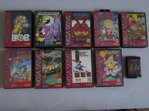 Lote De 10 Jogos Originais Mega Drive Tec Toy