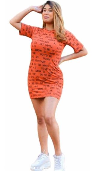 Blusão Vestido Feminino Camisão Manga Curta De Letras