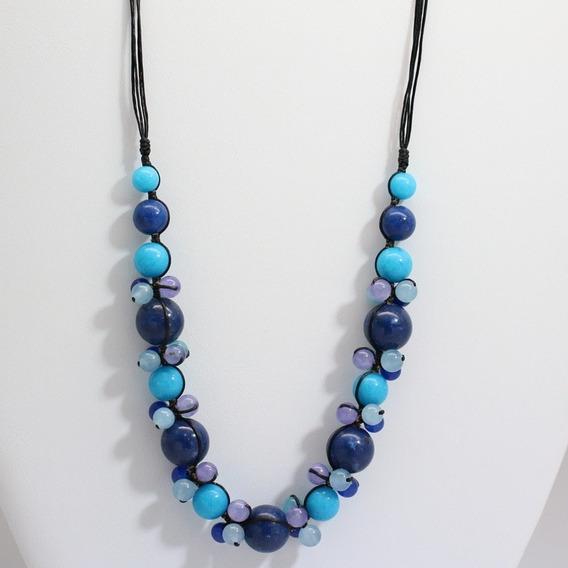 Colar Feminino Pedra Jade Azul Artesanal Bijuterias Finas
