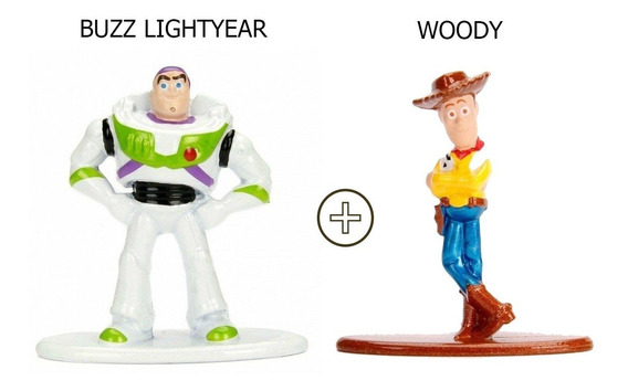 Bonecos Nano Metalfigs Buzz Lightyear + Woody Disney Pixar
