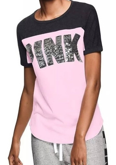 Remera Pink Victorias Secret Con Lentejuelas Original